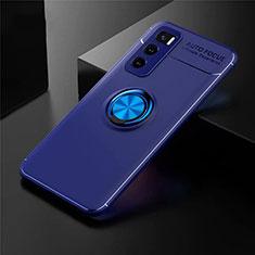 Funda Silicona Carcasa Ultrafina Goma con Magnetico Anillo de dedo Soporte para Vivo V20 SE Azul