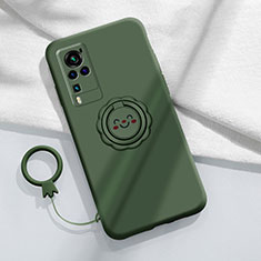 Funda Silicona Carcasa Ultrafina Goma con Magnetico Anillo de dedo Soporte para Vivo X60 Pro 5G Verde Noche