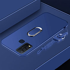 Funda Silicona Carcasa Ultrafina Goma con Magnetico Anillo de dedo Soporte para Vivo Y50 Azul