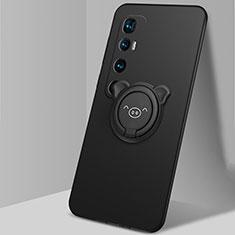 Funda Silicona Carcasa Ultrafina Goma con Magnetico Anillo de dedo Soporte para Xiaomi Mi 10 Ultra Negro