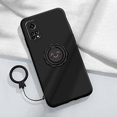 Funda Silicona Carcasa Ultrafina Goma con Magnetico Anillo de dedo Soporte para Xiaomi Mi 10T Pro 5G Negro