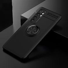 Funda Silicona Carcasa Ultrafina Goma con Magnetico Anillo de dedo Soporte para Xiaomi Mi Note 10 Lite Negro
