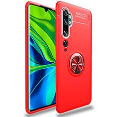 Funda Silicona Carcasa Ultrafina Goma con Magnetico Anillo de dedo Soporte para Xiaomi Mi Note 10 Pro Rojo