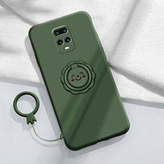 Funda Silicona Carcasa Ultrafina Goma con Magnetico Anillo de dedo Soporte para Xiaomi Redmi 10X Pro 5G Verde