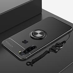 Funda Silicona Carcasa Ultrafina Goma con Magnetico Anillo de dedo Soporte para Xiaomi Redmi Note 8 Negro
