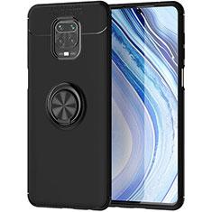 Funda Silicona Carcasa Ultrafina Goma con Magnetico Anillo de dedo Soporte para Xiaomi Redmi Note 9 Pro Negro