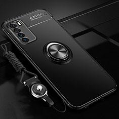 Funda Silicona Carcasa Ultrafina Goma con Magnetico Anillo de dedo Soporte T01 para Huawei Honor Play4 5G Negro