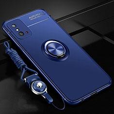 Funda Silicona Carcasa Ultrafina Goma con Magnetico Anillo de dedo Soporte T01 para Huawei Honor X10 Max 5G Azul