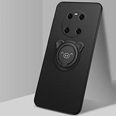 Funda Silicona Carcasa Ultrafina Goma con Magnetico Anillo de dedo Soporte T01 para Huawei Mate 40 Negro