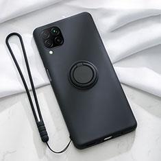 Funda Silicona Carcasa Ultrafina Goma con Magnetico Anillo de dedo Soporte T01 para Huawei P40 Lite Negro