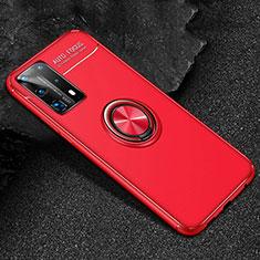 Funda Silicona Carcasa Ultrafina Goma con Magnetico Anillo de dedo Soporte T01 para Huawei P40 Pro+ Plus Rojo