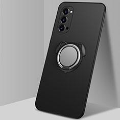 Funda Silicona Carcasa Ultrafina Goma con Magnetico Anillo de dedo Soporte T01 para Oppo Reno4 5G Negro