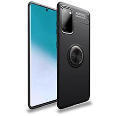Funda Silicona Carcasa Ultrafina Goma con Magnetico Anillo de dedo Soporte T01 para Samsung Galaxy S20 5G Negro