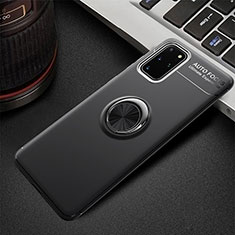 Funda Silicona Carcasa Ultrafina Goma con Magnetico Anillo de dedo Soporte T01 para Samsung Galaxy S20 Plus Negro