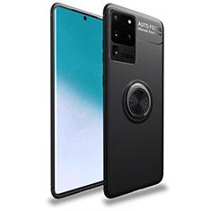 Funda Silicona Carcasa Ultrafina Goma con Magnetico Anillo de dedo Soporte T01 para Samsung Galaxy S20 Ultra 5G Negro