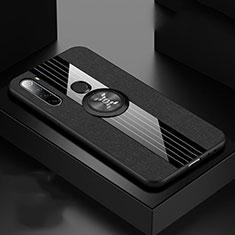 Funda Silicona Carcasa Ultrafina Goma con Magnetico Anillo de dedo Soporte T01 para Xiaomi Redmi Note 8T Negro