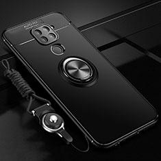Funda Silicona Carcasa Ultrafina Goma con Magnetico Anillo de dedo Soporte T01 para Xiaomi Redmi Note 9 Negro