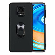 Funda Silicona Carcasa Ultrafina Goma con Magnetico Anillo de dedo Soporte T01 para Xiaomi Redmi Note 9S Negro