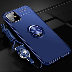 Funda Silicona Carcasa Ultrafina Goma con Magnetico Anillo de dedo Soporte T02 para Apple iPhone 11 Azul