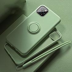 Funda Silicona Carcasa Ultrafina Goma con Magnetico Anillo de dedo Soporte T02 para Apple iPhone 11 Pro Max Verde