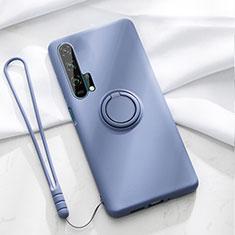 Funda Silicona Carcasa Ultrafina Goma con Magnetico Anillo de dedo Soporte T02 para Huawei Honor 20 Pro Azul