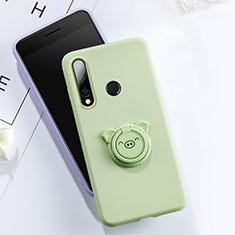Funda Silicona Carcasa Ultrafina Goma con Magnetico Anillo de dedo Soporte T02 para Huawei Honor 20E Verde