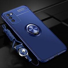 Funda Silicona Carcasa Ultrafina Goma con Magnetico Anillo de dedo Soporte T02 para Huawei Honor 30 Lite 5G Azul