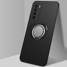 Funda Silicona Carcasa Ultrafina Goma con Magnetico Anillo de dedo Soporte T02 para Huawei Honor Play4 5G Negro