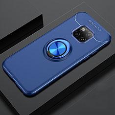 Funda Silicona Carcasa Ultrafina Goma con Magnetico Anillo de dedo Soporte T02 para Huawei Mate 20 Pro Azul