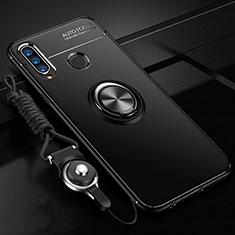 Funda Silicona Carcasa Ultrafina Goma con Magnetico Anillo de dedo Soporte T02 para Huawei P30 Lite New Edition Negro