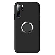 Funda Silicona Carcasa Ultrafina Goma con Magnetico Anillo de dedo Soporte T02 para Huawei P30 Pro Negro
