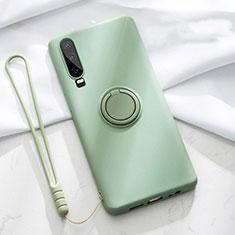 Funda Silicona Carcasa Ultrafina Goma con Magnetico Anillo de dedo Soporte T02 para Huawei P30 Verde