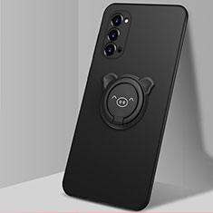 Funda Silicona Carcasa Ultrafina Goma con Magnetico Anillo de dedo Soporte T02 para Oppo Reno4 5G Negro