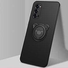 Funda Silicona Carcasa Ultrafina Goma con Magnetico Anillo de dedo Soporte T02 para Oppo Reno4 Pro 5G Negro