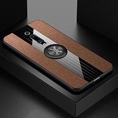 Funda Silicona Carcasa Ultrafina Goma con Magnetico Anillo de dedo Soporte T02 para Xiaomi Mi 9T Pro Marron