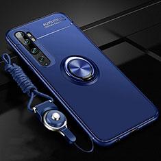 Funda Silicona Carcasa Ultrafina Goma con Magnetico Anillo de dedo Soporte T02 para Xiaomi Mi Note 10 Azul
