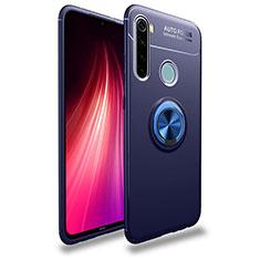 Funda Silicona Carcasa Ultrafina Goma con Magnetico Anillo de dedo Soporte T02 para Xiaomi Redmi Note 8T Azul