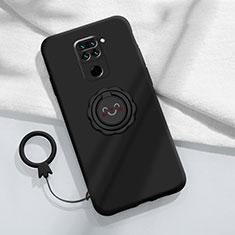 Funda Silicona Carcasa Ultrafina Goma con Magnetico Anillo de dedo Soporte T02 para Xiaomi Redmi Note 9 Negro