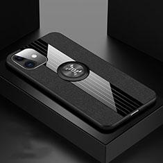 Funda Silicona Carcasa Ultrafina Goma con Magnetico Anillo de dedo Soporte T03 para Apple iPhone 11 Negro