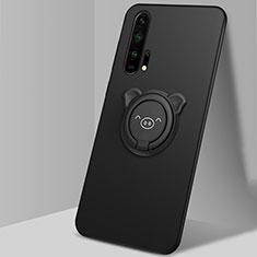 Funda Silicona Carcasa Ultrafina Goma con Magnetico Anillo de dedo Soporte T03 para Huawei Honor 20 Pro Negro
