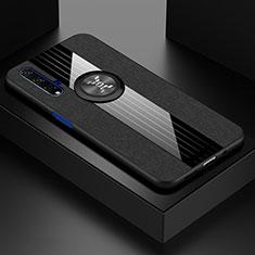 Funda Silicona Carcasa Ultrafina Goma con Magnetico Anillo de dedo Soporte T03 para Huawei Nova 5T Negro