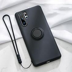 Funda Silicona Carcasa Ultrafina Goma con Magnetico Anillo de dedo Soporte T03 para Huawei P30 Pro Negro