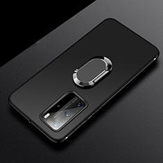 Funda Silicona Carcasa Ultrafina Goma con Magnetico Anillo de dedo Soporte T03 para Huawei P40 Pro Negro
