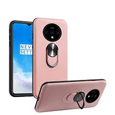 Funda Silicona Carcasa Ultrafina Goma con Magnetico Anillo de dedo Soporte T03 para OnePlus 7T Oro Rosa