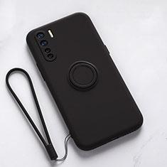 Funda Silicona Carcasa Ultrafina Goma con Magnetico Anillo de dedo Soporte T03 para Oppo Find X2 Lite Negro