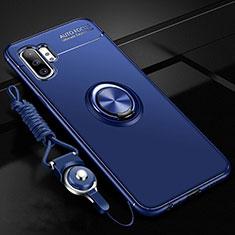 Funda Silicona Carcasa Ultrafina Goma con Magnetico Anillo de dedo Soporte T03 para Samsung Galaxy Note 10 Plus 5G Azul