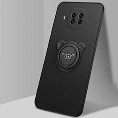 Funda Silicona Carcasa Ultrafina Goma con Magnetico Anillo de dedo Soporte T03 para Xiaomi Mi 10T Lite 5G Negro