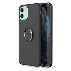 Funda Silicona Carcasa Ultrafina Goma con Magnetico Anillo de dedo Soporte T04 para Apple iPhone 11 Negro