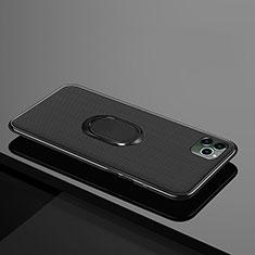 Funda Silicona Carcasa Ultrafina Goma con Magnetico Anillo de dedo Soporte T04 para Apple iPhone 11 Pro Max Negro
