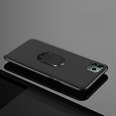 Funda Silicona Carcasa Ultrafina Goma con Magnetico Anillo de dedo Soporte T04 para Apple iPhone 11 Pro Negro